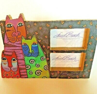 "Laurel Burch Mysticats Background Double Picture Frame Holds 2"" x 3.5"" Pictures"