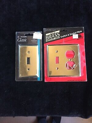 Vtg Gatco solid brass metal switch plate covers toggle 3 piece lot FREE SHIPPING