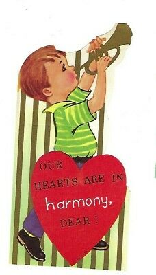 Vntg school Valentine card boy playing HORN TRUMPET Our hearts are in harmony