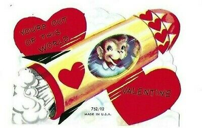 Vntg school Valentine card Space MONKEY in ROCKET SHIP You're out of this world
