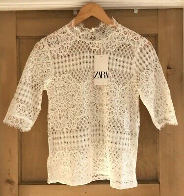 Zara LACE top size S 8 /& M 10 SHEER FLORAL navy IVORY BNWT
