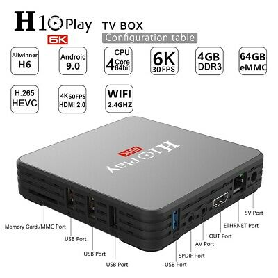 H10 PLAY Smart TV Box Android 9.0 Quad Core 4GB RAM 64GB ROM 3D HD 6K WiFi M4Q7
