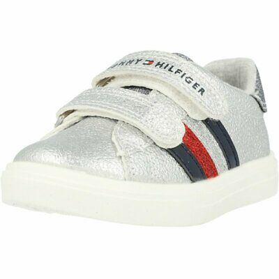 Tommy Hilfiger Trainer Silver Eco Leather Infant Sneakers Shoes