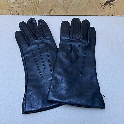 Vintage Ladies Black Leather Gloves - Size 6.5 / Small