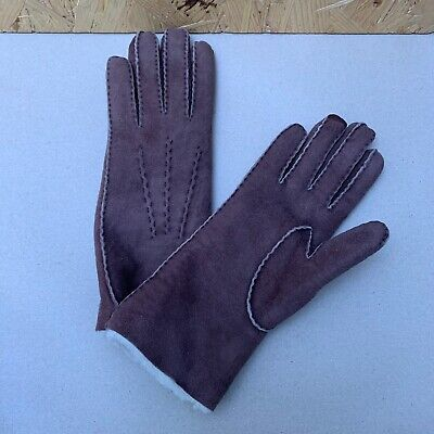 Vintage Ladies Brown Faux Sheepkin Leather Gloves - 6.5 / Small