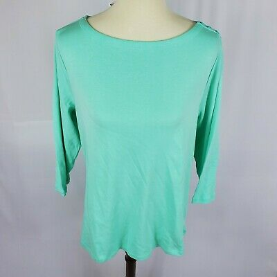 Charter Club womens top plus size 2X blue teal pima cotton long sleeves new