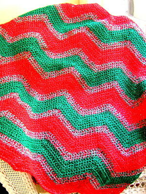 CROCHET baby blanket afghan wrap shawl handmade CHRISTMAS SEASON red green NEW