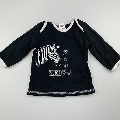Girls,Boys size 0, Baby Berry, black cotton long sleeve top, zebra, GUC