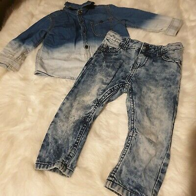 Boys 9-12 Months polo shirt Top acid wash jeans Trousers outfit bundle Next Day