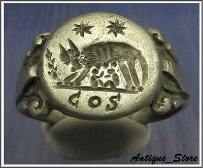 ** WOW ** SHE-WOLF - COS ** Ancient Silver Roman Inscription Ring **AMAZING **