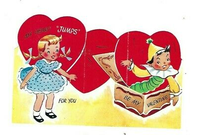 """Vntg school Valentine card JACK IN THE BOX """"My heart jumps for you"""" sweet girl"""