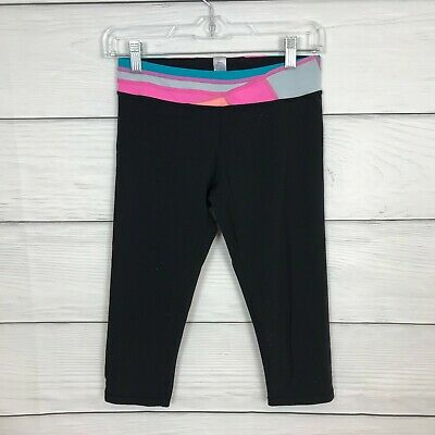 Ivivva Lululemon Girls 14 Years Crops Rhythmic Reversible Black Waist Leggings
