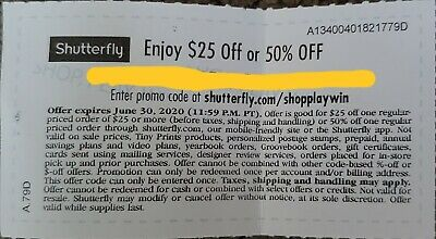 Shutterfly $25 OFF $25 Purchase or 50% Off Order - Photo COUPON CODE Exp 6/30/20