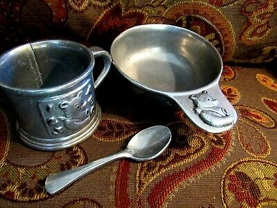 YOUNGSTER'S  3 Piece  Pewter EATING set > TEDDY  BEAR  PATTERN