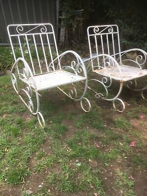 Pair Art Deco Garden Chairs Originals Heavy Wrought Iron & Scroll Patio Chairs.