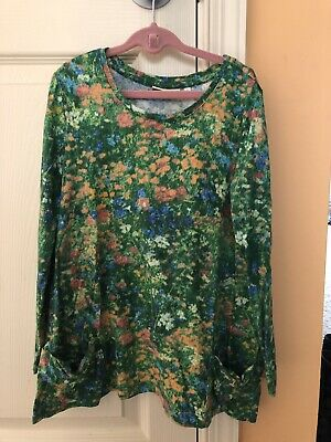 LOGO Littles By Lori Goldstein Girl's Floral Long Sleeve Tunic Size S-6/7