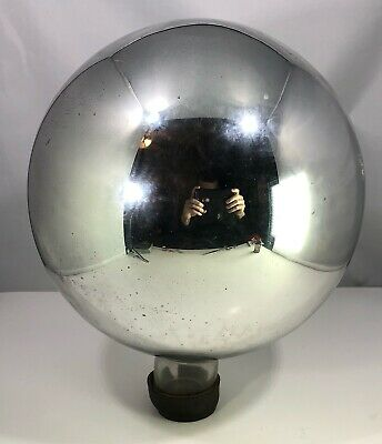"Antique 10"" Victorian Mercury Glass Gazing Ball Witches Ball 31"" Circunfrence"