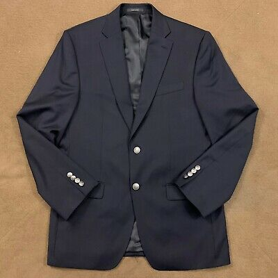 Mens MICHAEL KORS Navy Blue Wool Blend Blazer Jacket Sport Coat 38R