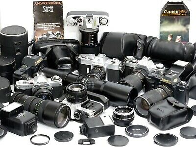 Vintage Canon Lot: 7 Cameras+9 Lenses+4 Flashes+More+ 500Mm Ae-1 Program 50Mm Fd