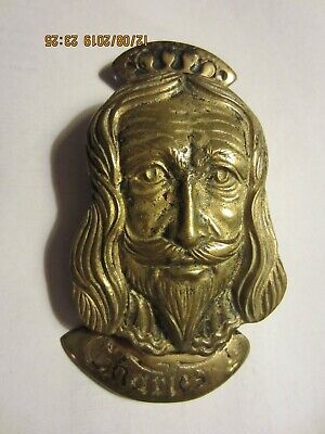 Charles 1 Brass Door Knocker  Vintage Cast Brass, Bel. Reg. Great Britain