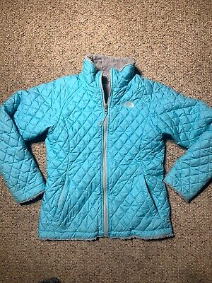 THE NORTH FACE Girls Blue/gray MOSSBUD SWIRL Reversible Coat Jacket - L (14/16)