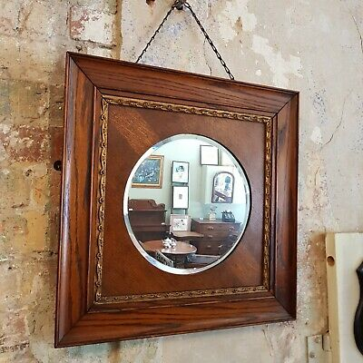 FREE DELIVERY - Antique Oak and Gilt Frame Bevelled Wall Mirror 54cm x 54cm