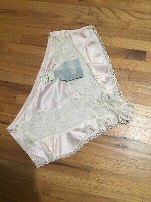 Vintage NWT Old Stock Delicates 80s 90s Nylon Pink Silky Lace  Panties Size Med