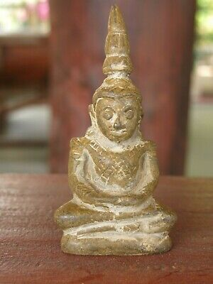 "Antique Wood Clay Meditating Chiangrung Laos Buddha Temple Relic 4.5"" 19th Rare"