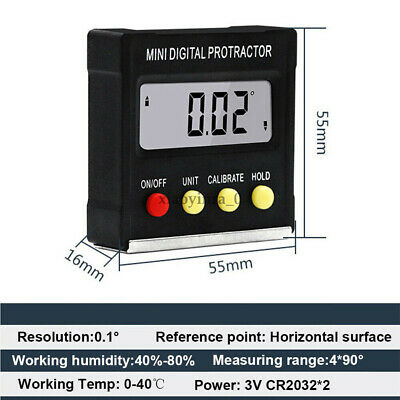 LCD Protractor Level Box Angle Finder Gauge Meter Inclinometer Electronic Z4R9