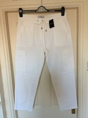 BNWT NEXT sz 14 R STUNNING WHITE CHINOS CROP TROUSERS RRP £30 CROPPED