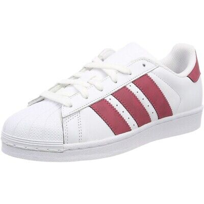 adidas Originals Superstar White/Dark Pink Leather Junior Trainers Shoes