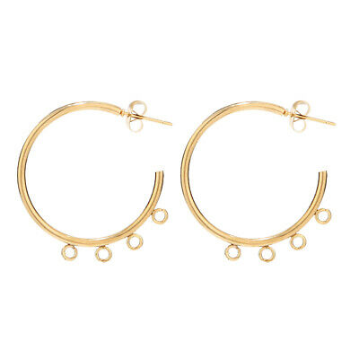 8pcs Gold Plated Stainless Steel Round Ear Studs With Loop Earrings Accessorie
