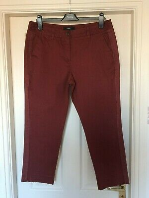 BNWT NEXT sz 10 R STUNNING BURGUNDY RED CHINOS CROP TROUSERS RRP£30 CROPPED