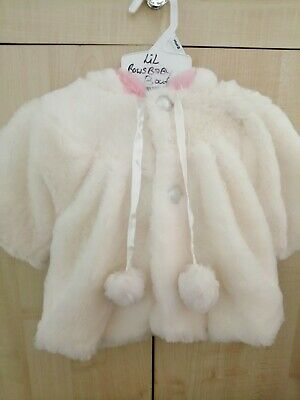 Baby Girls Super Soft Fur Coat Cape with pompoms Cream 3-6 Mths