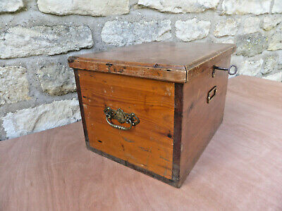 Small vintage pine box with brass handles, hinges. Lock with one key.