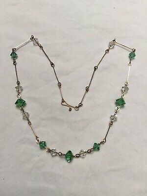 Vintage Art Deco 1920 1930s green Clear glass bead necklace Rolled gold Wirework