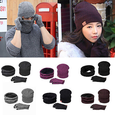 Men Women Solid Knitted Fleece Winter Soft Beanies Cap Hat Scarf Neck Gloves Set