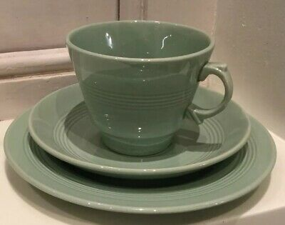 Woods Ware Beryl Green Tea Trio Cup Saucer & Side Tea Plate Good Condition