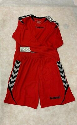 Hummel Authentic Charge Poly L/S Shirt & Shorts Set True Red Size 164-176 Bnwt