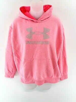 UNDER ARMOUR Girls Hoodie Jumper YXL Youth XL Pink Cotton & Polyester