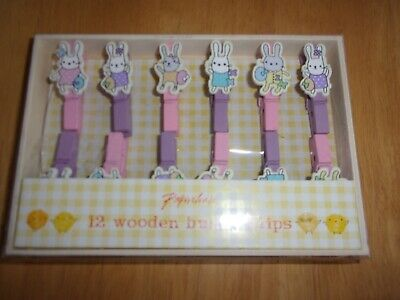 12 Wooden Bunny Mini Pegs New From Paperchase. Ideal For Easter