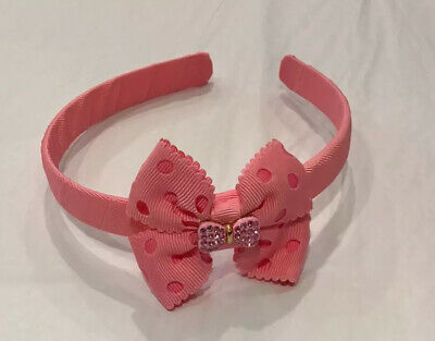Lelli Kelly Headband New Pink With Spots & Diamanté Detail Unused & In Packet