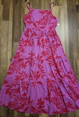Womens size Medium Pink Leaf Print Sleeveless Maxi dress NWT By Old Navy
