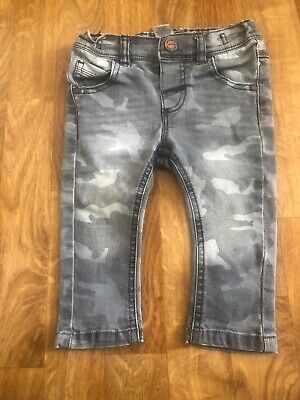 next boys grey camoflague jeans with adjustable waist age 6-9 months