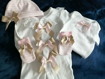 Newborn Baby Girls Babygrow Vest Hat And Mitts Set Pink And Champagne Bows Lace