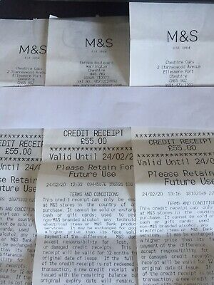 3 x Marks & Spencer Credit Receipts Worth £165 (£55 x 3)