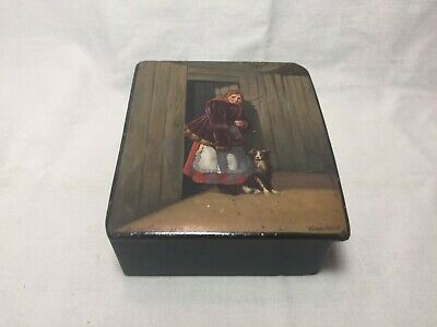 Ancient Box: Peasant Girl With A Dog (Fedoskino) (1952) (Author) Original! Ussr!