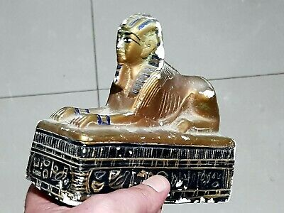 Exeptional Extremely Rare Undated Egyptian Statue Of Sphinx 702 Gr.167 Mm