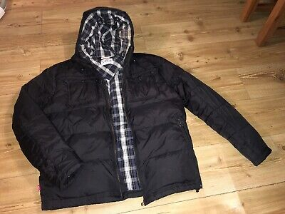 Levi Strauss Puffer Jacket L Large Black With Hood Check Lined Waterproof