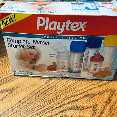VINTAGE Playtex Drop-Ins ORIG DECORATED NURSER Starter Set - Primary Colors